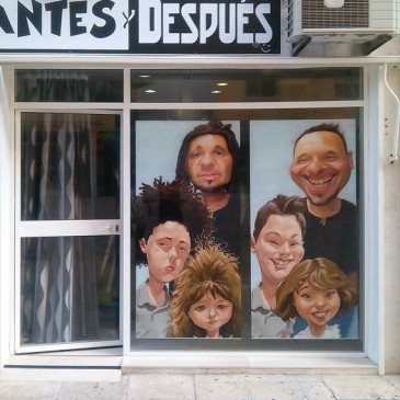 Caricaturas para decoración de escaparates. Antes y Después