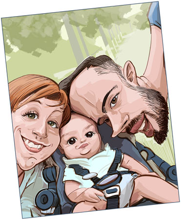 caricatura personalizada de familia
