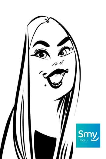 caricatura fiesta Inauguración hotel Smy 1