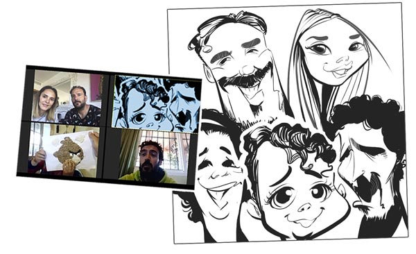Caricaturas por Videolamada. Zoom Party